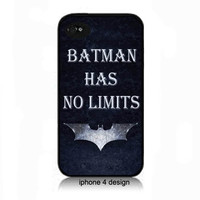 Dark Knight &#x27;Batman Has No Limits&#x27; iphone 4 case, iphone 4 accessory cell phone cover