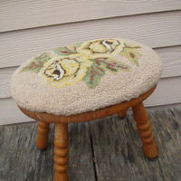 Vintage Rug Hooked Shabby Chic Primitive Stool  Muted Colors