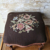 Vintage Shabby Chic Primitive Needle Point  Stool  Muted Colors Brown Square