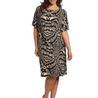 Calvin Klein Women's Plus Size Printed Side Buckle Dress