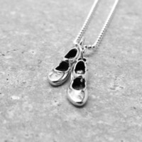 Tap Dance Necklace, Tap Shoes, Sterling Silver