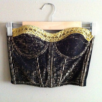 The Showgirl - VINTAGE 80s Black & Gold Metallic Corset Top Bra Shirt  PArty Hollywood