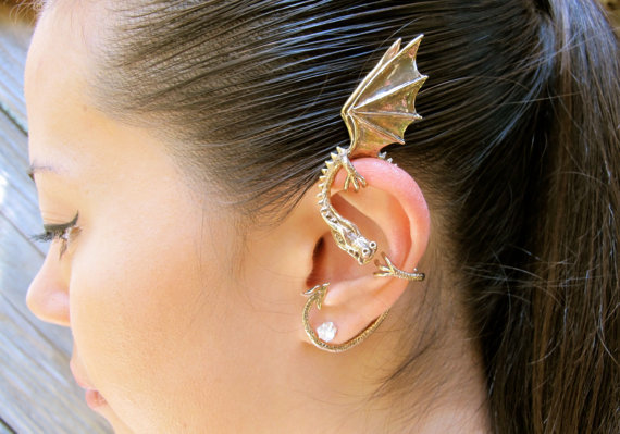 Bronze Elfin Dragon Ear Cuff