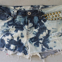 Tie Dye Bleached/Acid Washed Denim Plus SIze Shorts.