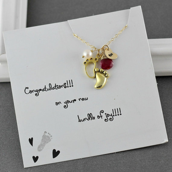 New Mom Necklace, Baby Shower Gift, Mother Birthstone Necklace, Expecting Mom Baby Feet Necklace, Initial Stamped Heart July Birthstone Ruby