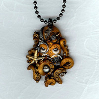 Steampunk Octopus Kraken Cephalopod necklace Polymer Clay Jewelry