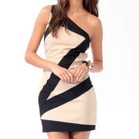 Bias Colorblocks One-Shoulder Dress