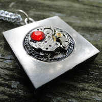Antique Silver Square Steampunk Movement Necklace