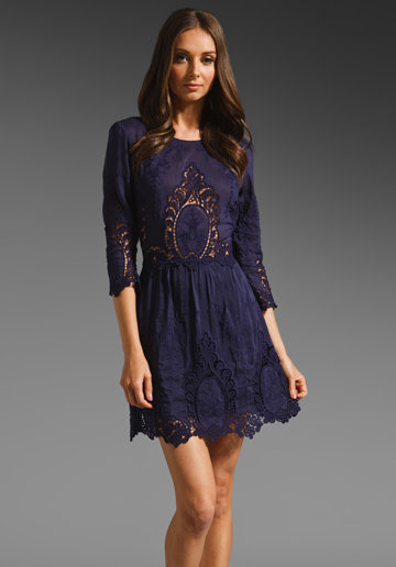 Dolce Vita Valentina Petticoat Embroidery Dress in Navy from REVOLVEclothing.com