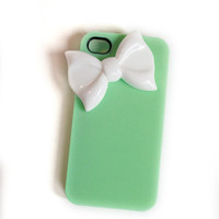 Mint bow cellphone cover, iPhone Cover, cover for Android,trendy, iPhone 4s, iPhone 4,