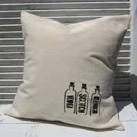 Supermarket - Vintage Liquor Bottles Pillow Cover from finch-design