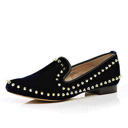 navy studded slipper shoes