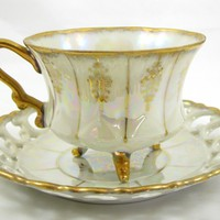 Royal Sealy China vintage Iridescent Footed Gold Cut-out TEA CUP & SAUCER Japan