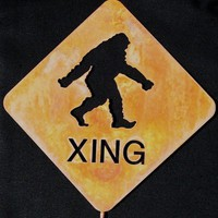 Bigfoot Sasquatch or Yeti Crossing Metal Yard  Art or Garden Stick Sign