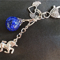 Unicorn Winged Heart Blue Crackle Glass Marble Keychain