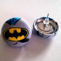 Black yellow and grey Batman button earrings