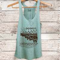Astral Teepee - womens tri-blend tank - black - by Bark Decor