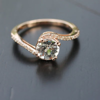 2ct round white sapphire diamond ring a 14k rose by EidelPrecious
