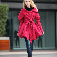 Rose Red Hooded Jacket | Winter Coat