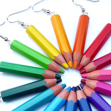 Upcycling Earrings - pencilmania - Choose your favourite colors - made with genuine color pencils