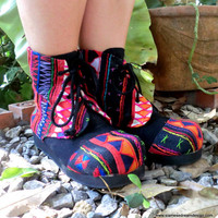 Akha Ankle Boot In Colorful Tribal Appliqué on Black