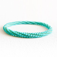 Turquoise bangle bracelet. Bead woven rope stack bracelet.