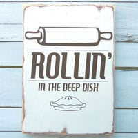 Typography Wall Art -Rollin In The Deep Dish Wood Sign White
