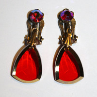 Vintage Earrings Red Crystal Drops 1950s Jewelry Rhinestone