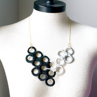 Unique Upcycled Statement Piece Geometric Necklace in Black and Gray Tones Inspired by The Night Circus