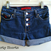 Denim Jean Shorts Mid Waisted Button Up Shorts Size 0-1