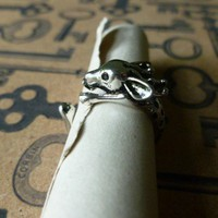 Silver Deer Ring sz 7-8