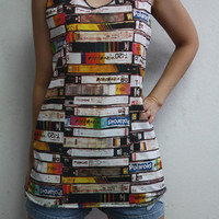 Videocassette Videotape women T-Shirt Video Cassette rock music women tank top punk black women t-shirt ladies tee