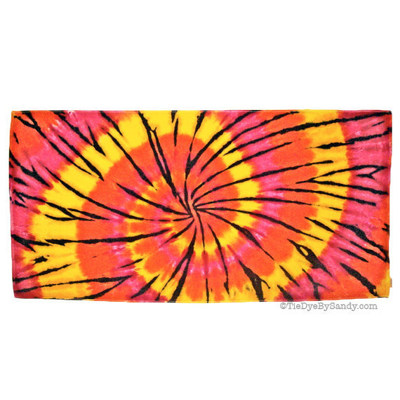 Tie Dye Beach Towel:  Large Sunswirl Pink Orange Yellow with Black