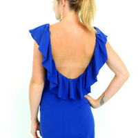 Kiss The Sky Ruffle Dress in Royal -  $49.00 | Daily Chic Dresses | International Shipping