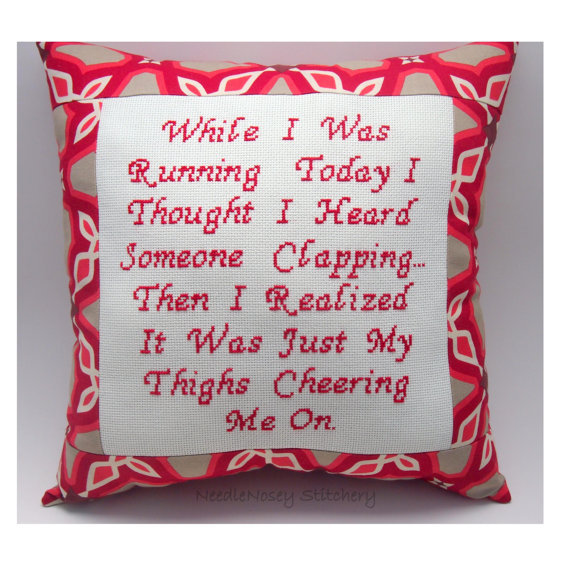 Funny Cross Stitch Pillow, Funny Quote, Red Pillow, Running Quote