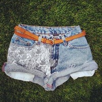 Vintage High Waisted Denim White LACE Panel Jean Shorts