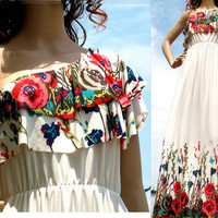 White Maxi Dress Floral Evening Dress One Shoulder Long Dress/ Wedding Bridesmaid Dress