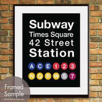 Times SquareNYC Inspired Subway Sign Art11x14 Print by TheWordShop