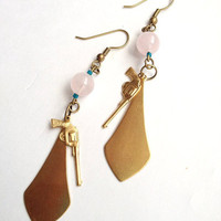 Rose Quartz Pistol Earrings