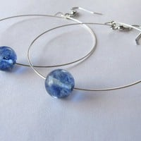Silver Hoops with Blueberry Quartz