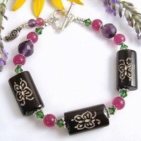Butterfly Carved Bone Bracelet with Green Crystals, Purple Amethyst, Pink Jade, Flower Charm, Sterling Silver Toggle