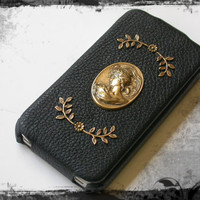 Black Leather Flip Case for iPhone 4 and 4s - Ox Brass Girl Cameo