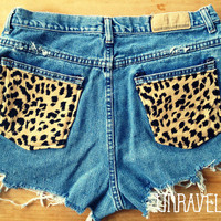 High Waisted Shorts, Leopard Print Pockets (Size MEDIUM-LARGE)