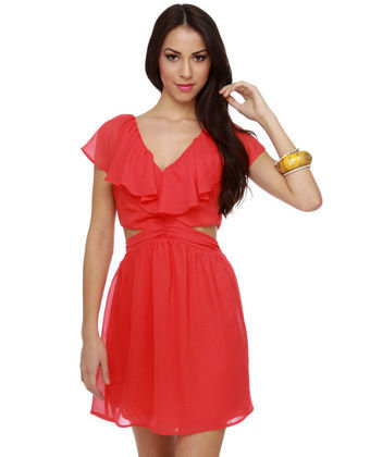 Cute Ruffle Dress - Coral Dress - Cutout Dress - $47.00