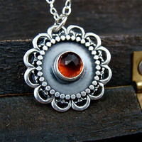 sunflower ... hessonite garnet pendant