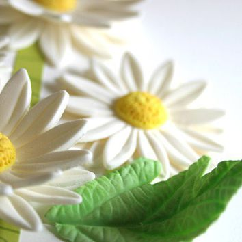 Edible Sugar Daisies and Leaves by andiespecialtysweets on Etsy