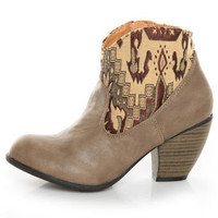 Taupe Tapestry Ankle Boots