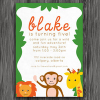Green Zoo Animals Customizable Printable Birthday Invite