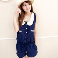 YESSTYLE: CatWorld- Peter-Pan Collar Playsuit (Dark Blue - One Size) - Free International Shipping on orders over $150