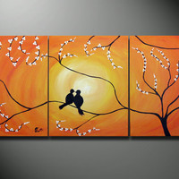 Birds in Tree Branch Painting, 48 x 20 Large Art canvas ORIGINAL Romantic Lovers wedding gift wall decor, birds sitting on a tree
